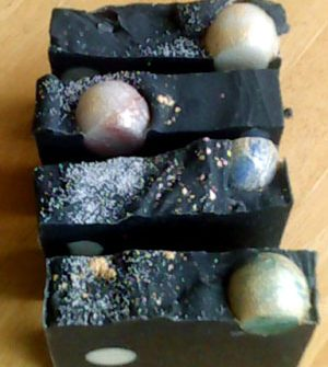 Night sky with planets soap, detail